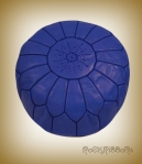 Rock Ribbons Dark Blue Moroccan Leather Pouf