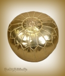 Rock Ribbons Gold Moroccan Faux Leather Pouf