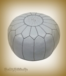 Rock Ribbons Moroccan Grey Leather Pouf