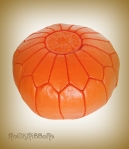 Rock Ribbons Orange Moroccan Leather Pouf