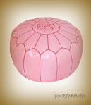 Rock Ribbons Pale Pink Leather Moroccan Pouf