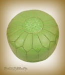 Rock Ribbons Pistachio Leather Moroccan Pouf