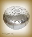 Rock Ribbons Silver Faux Leather Moroccan Pouf