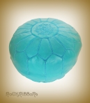 Rock Ribbons Bright Blue Leather Moroccan Pouf