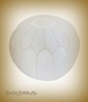 Rock Ribbons White Leather Moroccan Pouf