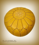Rock Ribbons Yellow Leather Moroccan Pouf